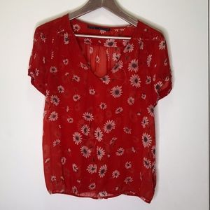 Zara Red Floral Sheer Shirt Size Medium